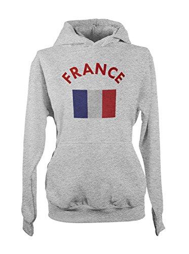 France French Flag Femme Capuche Sweatshirt Gris