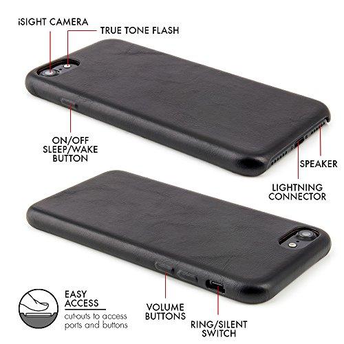 """Case für iPhone 7 (4,7"""") Thin Fit Hülle """"No.5 Leather"""" - Echt Leder Tasche für Apple iPhone 7, Schutzhülle mit Soft Feel Coating in Schwarz von QUADOCTA® - Idealer Schutz für Diamantschwarz Jet Black  Schwarz"""