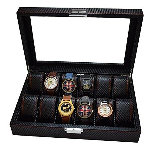 AMYMGLL Lux Luxury Watch Box mit Glasdeckel und Schloss, 12 Slots