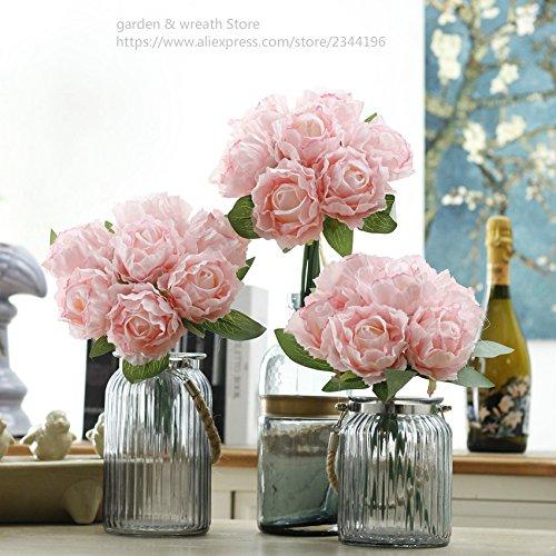ZTTLOL 7 Köpfe Pfingstrose per Boquuet Silk Blumenstrauß Home Hochzeit Dekoration DIY Brautstrauß, Rosa