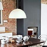 Lampada a sospensione Industrial Industrial Metal con cupola Lampadario a forma larga 1-luce Lampada a sospensione Apparecchio a soffitto-Bianco