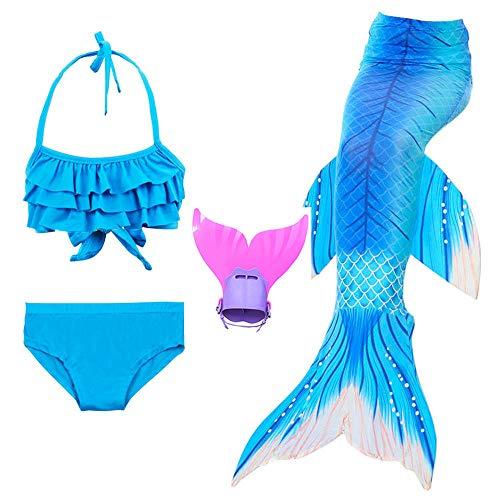 Mermaid Tail Swimmable Monoflosse für Mädchen Bikini Set Cosplay Princess Badeanzug Kostüm für Mädchen mit Fin Kostüm (3-12) Kinder,Blueb,150 (Halloween Tails Mermaid)