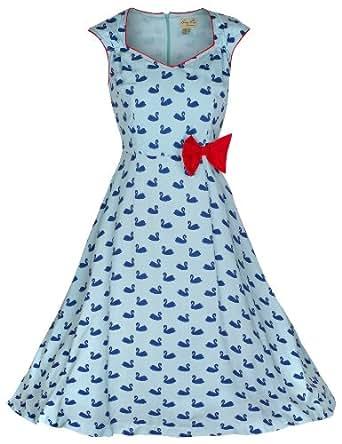 Lindy Bop 'Leda' Swan Imprimer Vintage 1950 Style Robe (54, Bleu)