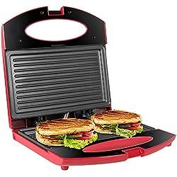 OZAVO Toaster Croque Monsieur 3 en 1 Appareil Panini Grill Antiadhésive 750W Sandwich Maker Presse à Panini 220x220x75mm - Rouge