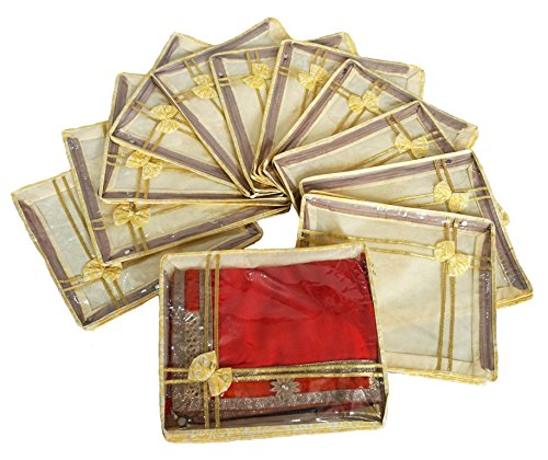 Prem Industries Heavy Quality Non Woven Designer Bow Saree Cover/Wedding Sarees Lahenga Cover/Wardrobe Organiser Bag Set of 12 Pcs Gold Printed (with Zip Lock) Golden Colour PI0230