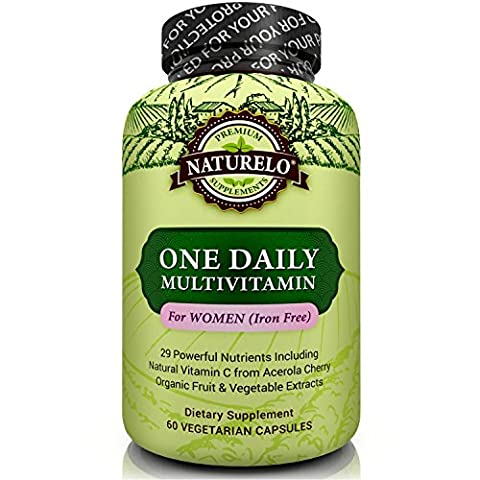 NATURELO One Daily Multivitamin for Women - IRON FREE – Natural Menopause Support - Best for Women Over 40 & 50 - Whole Food Supplement - Non-GMO - No Soy - Gluten Free - 60 Capsules | 2 Month