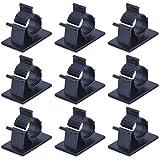 eBoot Clips de Alambre Cable Ajustable Autoadhesivo Plástico Abrazadera, Negro, Paquete 50