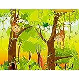 Fototapeten Kinderzimmer Affen Dschnungel 352 x 250 cm Vlies Wand Tapete Dekoration Wandbilder XXL Moderne Wanddeko - 100% MADE IN GERMANY - Grün Wald Runa Tapeten 9041011b