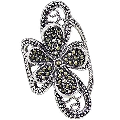 WHX Ringe Damen,925 Sterling Silber mit offenem Ring aus Wolfram Stein Damen Blume national Wind Ring 43mm * 19mm für alle gelegenheite 43mm Ring
