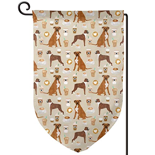 vintage cap small Boxer Dog Coffee Boxers and Coffee Polyester Garden Flag House Banner 12.5 x 18 inch, Two Sided Welcome Yard Decoration Flag for Wedding Party Home Decor - Boxer Garden Flag
