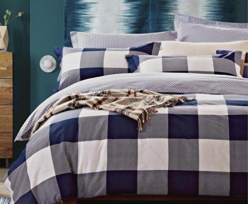 Louisiana Wende Bettwäsche CHECK Polka Bettbezug Set 100% Baumwolle 200 Fadenzahl Marineblau Weiß (200x200 cm + 2 Kissenbezüge 50x75 cm) (Nautische Bett Bettdecken)
