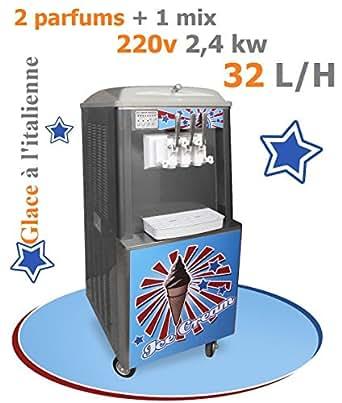 Machine à glace Italienne sur roulette 2 parfums + 1 Mix