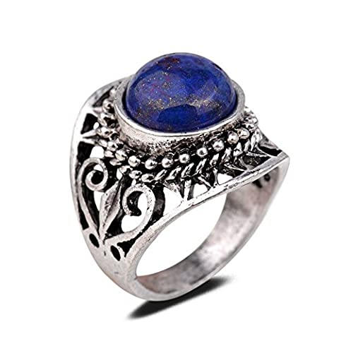 Yazilind Vintage Antique Round Cut Blue Lapis Lazuli Retro Silver Plated Heart Hollow M Ring Women