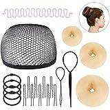 Frcolor Hair Bun Maker Doughnut Donut Bun Maker Set Hair Styling Accessories Kit, Beige