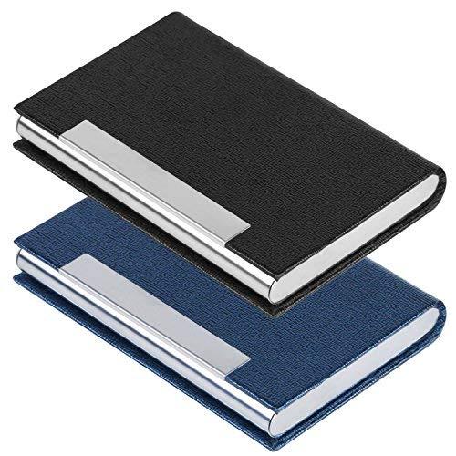 Parámetros del producto. Tipo de material: Acero inoxidable y piel sintética.  Peso: 80 gramos  Tamaño: 93 x 62 x 11 mm. Color: Negro. Azul.   Contenido del paquete: 1 tarjetero de acero inoxidable (negro).  1 tarjetero de acero inoxidable (azul).