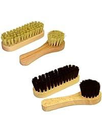 DELARA Kit de brosses à chaussures : petites brosses à chaussures et brosses à cirage en poils naturels, 4 pièces au total