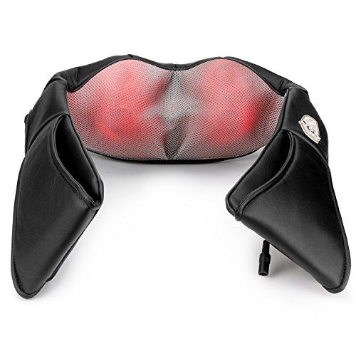 1byone Shiatsu Nacken und Rückenmassagegerät Knet-Massagegerät mit Wärme und Auto-Adapter Schwarz