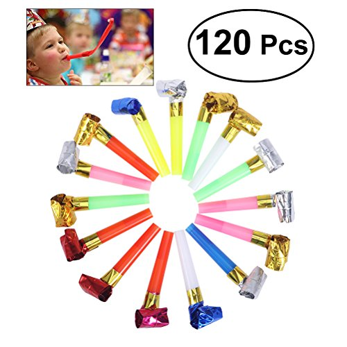 TOYMYTOY 120 Stücke Partytröten Luftrüssel, Partei Blowouts Noisemakers Mehrfarbig Tröten Luftrüssel für Hochzeit Geburtstagsfeier Gefälligkeiten Weihnachten,Farbe