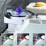 EIK LED Wasserfall Waschbecken Wasserhahn (unique design) mit Ablaufgarnitur