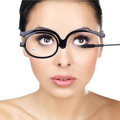 Make up Glasses, Schminkbrille, MiniBrille Make Up Schminkbrille Mode Damen Schminkbrille mit klappbaren glaesern (Schwarz 350)