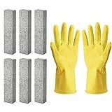 Jalan 6 Stück Bimsstein 1 Paar Handschuhen zum Reinigen von WC-Beckenring, Bad, Haushalt, Küche, Pool, 15 * 3,5 * 2,5 cm