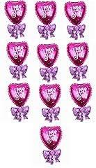 Idea Regalo - 10 Palloncini - Cuore - Fiocco - Caramella - Rosa - Fuxia - I Love You - 37 X 32 Centimetri - San Valentino - Anniversario - Matrimonio - Festa - Decorazioni - Fidanzata - Fidanzato -Moglie Marito