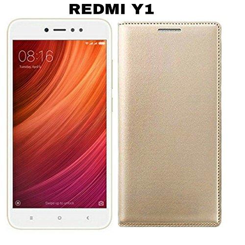 AVICA Premium Leather Flip Case Cover for Xiaomi Redmi Y1/Xiaomi Mi Y1/Redmi Y1- Gold image