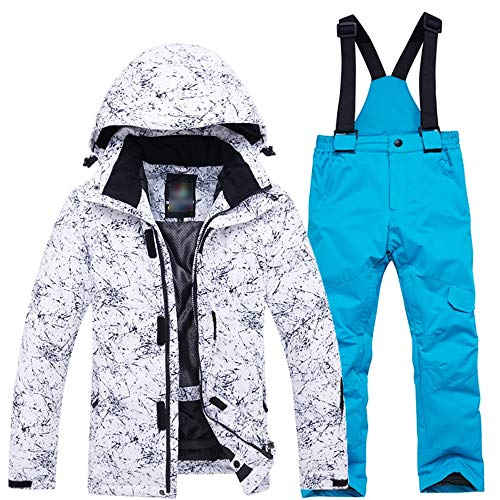 Chaqueta deportiva para niños al aire libre Conjunto de traje de esquí para niños Boy Espesar Chaqueta impermeable Para esquí, snowboard camping unisex. ( Color : White shirt+blue pants , tamaño : L )