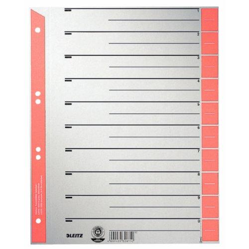 Preisvergleich Produktbild Leitz 16523025 Trennblatt, A4, Karton, farbig bedruckt, 25 Stück, rot