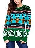 Aleumdr Weihnachtspullover Strickpullover Damen Langarm Pullover Winter Herbst Casual Slim Fit Sweater Outwear S-XXL, Grün, Small(EU34-36)