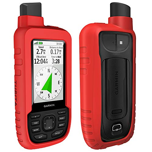 TUSITA Hülle für Garmin GPSMAP 66s 66st - Silikon Schutzhülle Skin - Handheld GPS Navigator Zubehör (Rot) Handheld-gps