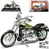 HarIey Davdson 2004 FXSTDSE2 CVO Grün Mit Sockel 1/18 Maisto Modell Motorrad