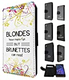 433 - Fun Blondes Have More Fun But Brunettes can read Design Sony Xperia M2 Fashion Trend TPU Leder Brieftasche Hülle F
