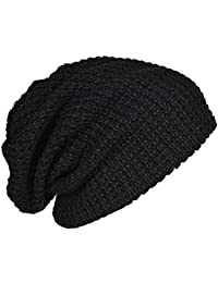 Mens Cap - SODIAL(R) Mens Slouchy Long Beanie Knit Cap for Summer Winter Oversize black