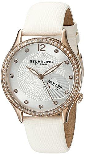 Stuhrling Original Symphony 801.03, Orologio al quarzo, con display analogico in argento, da donna, bianco con cinturino in pelle