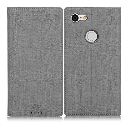 Eastcoo Google Pixel 3 Hülle, Flip Folio Wallet Leder Smart Case Tasche Schutzhülle Handyhülle mit [Kartenfach][Standfunktion][Magnetic Closure] für Google Pixel 3 Smartphone (Gray)