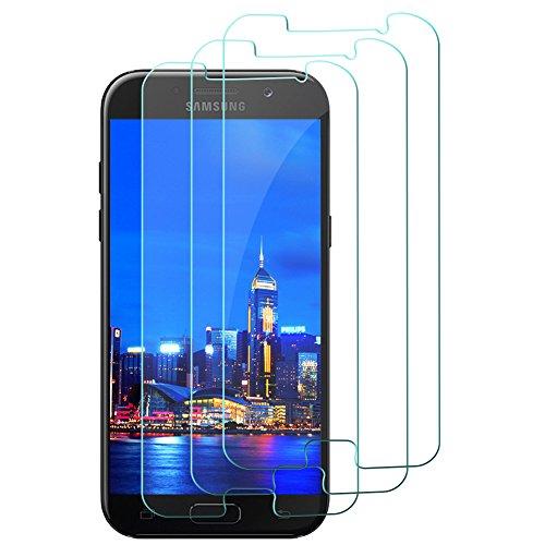 Preisvergleich Produktbild [3 Stück] Samsung Galaxy A5 2017 Panzerglas Schutzfolie,  gehärtetes Glas Displayschutzfolie,  9H gehärtetes Glas,  Antikratz,  Bläschenfrei,  Glas 0.3mm,  HD-Klar,  Anti-Bläschen,  Anti-Öl,  Transparent.