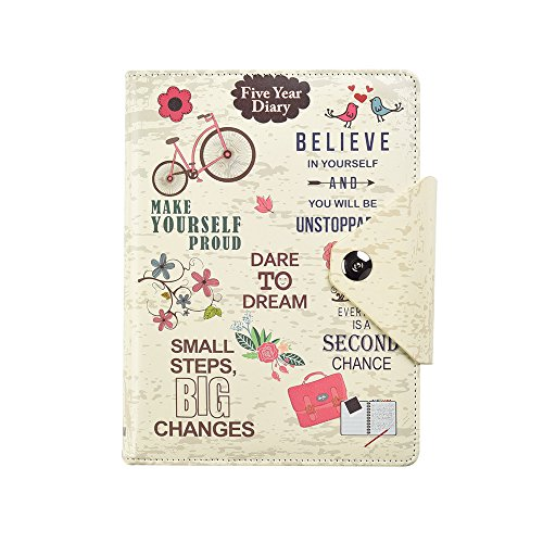 Five 5-Year Diary Organizer - Undated Daily Planner Journal Book - Stud Button Closure - A5 Writing Paper - Faux Leather Inspirational Slogan Art Cover, by Arpan (Cream)