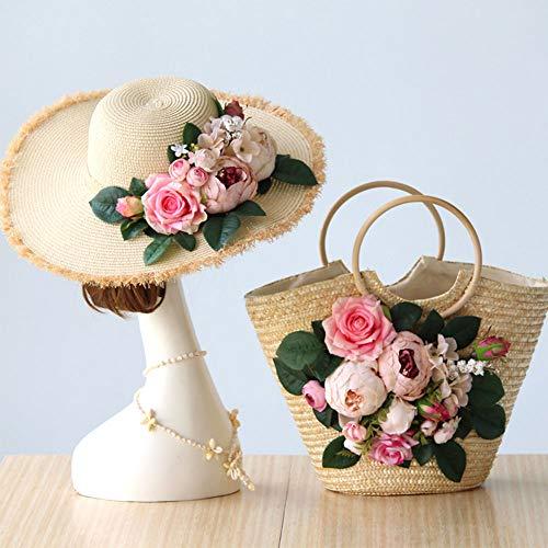 JBAG-one Frauen handgewebte Blumen Strohhut Handtasche Set Travel Beach Bag Sonnenhut Totes,hat+Bag -