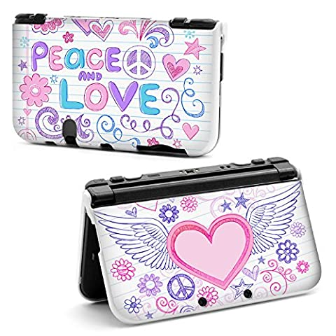 coque NEW 3DS XL Peace and love blanc coeur ailes ange fleur etoile rose violet dessin