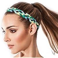 Sternitz Cintas de Pelo Trenzadas - Antiresbalante Yoga - Pilates - Running. Headbands (Verde)