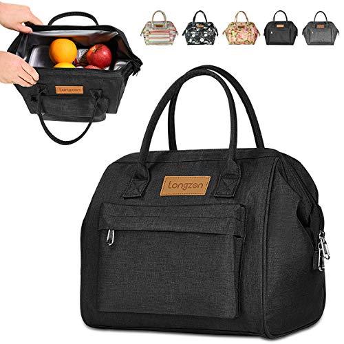 Longzon borsa termica pranzo, 15l borsa termica grande portatile termico borsa frigo per uomo/donna/bambino, borsa portapranzo per ufficio, scuola e picnic (nero)