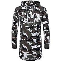 Herren Tops,TWBB Freizeit Camouflage Hooded Männer Oberteile Falten V-Ausschnitt Shirt Lange Ärmel Schlank Hemd Bluse Persönlichkeit Sweatshirts