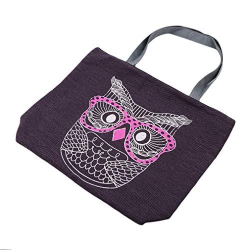 kemai Owl Print Tote Bags Leinwand Schöne Sommer Strand Handtaschen, Eule lila