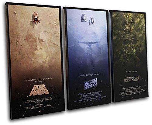 Bold Bloc Design - Star Wars Trilogy Posters Movie Greats 60x40cm TREBLE Leinwand Kunstdruck Box gerahmte Bild Wand hangen - handgefertigt In Grossbritannien - gerahmt und bereit zum Aufhangen - Canvas Art Artwork Print - Art Canvas Print