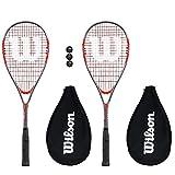 Wilson Squashschläger Pro 900, mit 3 Wilson Squashbällen, 2 Stück