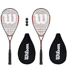 2x Wilson Pro 900 Raquetas Squash + 3 Pelotas de squash - Tamaño del cabezal: 497cm2. - Marco Balance - 31.0cm - Estampado cuerda- 14 x 19