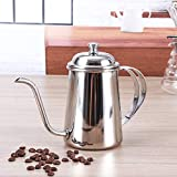 KITCHY 1PC 650ml Vintage Coffee Pot Swan Neck Mouth Stainless Steel Coffee Kettle Drip Coffee Maker Pot Plating Colorful Coffeeware: Sliver