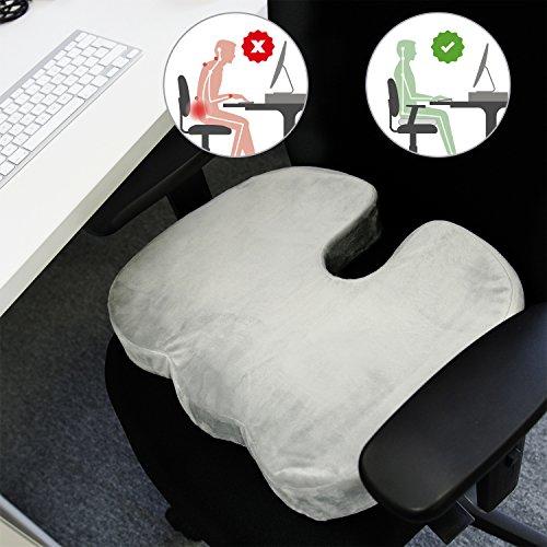 Cojín ergonómico y terapéutico para el coxis. Alivia el dolor de hemorroides y ciática. Cojín antiescaras y viscoelástico para silla de ruedas, oficina, coche y meditación. Base antideslizante.
