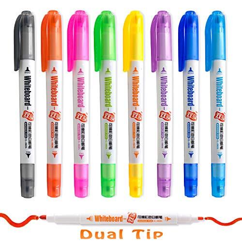 Aoyooh Whiteboard-Marker Stifte, Doppelspitze, Medium und Fein,Set mit 8 Farben, Trocken abwischbar, perfekt für Zuhause, Schule oder Büro